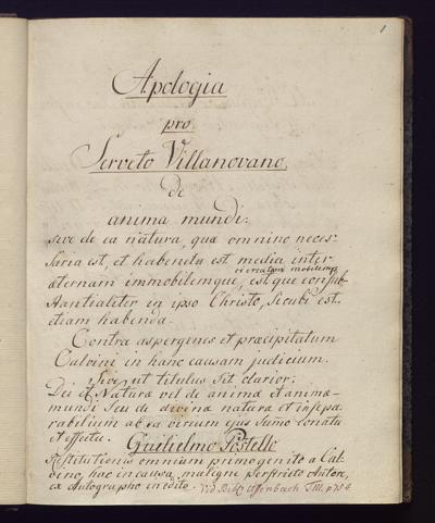 Cim I 63 — Guillaume Postel: Apologia pro Serveto Villanovano — Frankfurt, 1730