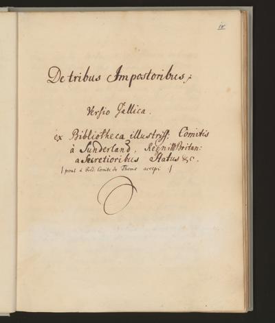 Cim I 258 — De tribus Impostoribus. Versio Gallica — 18. Jh., 2. Drittel