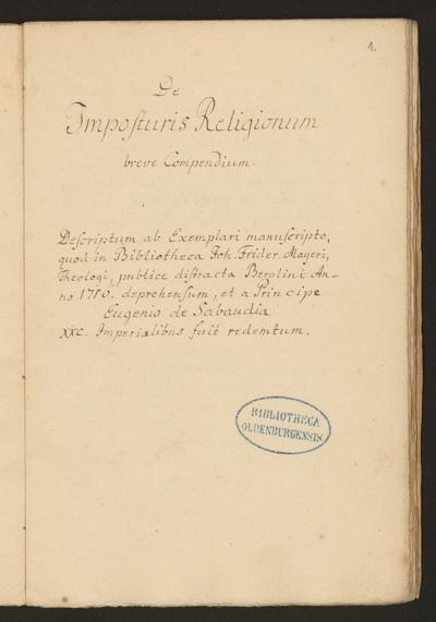 Cim I 58 — De Impostoribus Religionum breve Compendium — 18. Jh., nicht vor 1717